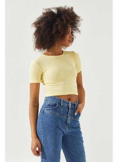 Reyon REYON Kadın Kısa Kol Crop Bluz Sarı Sarı